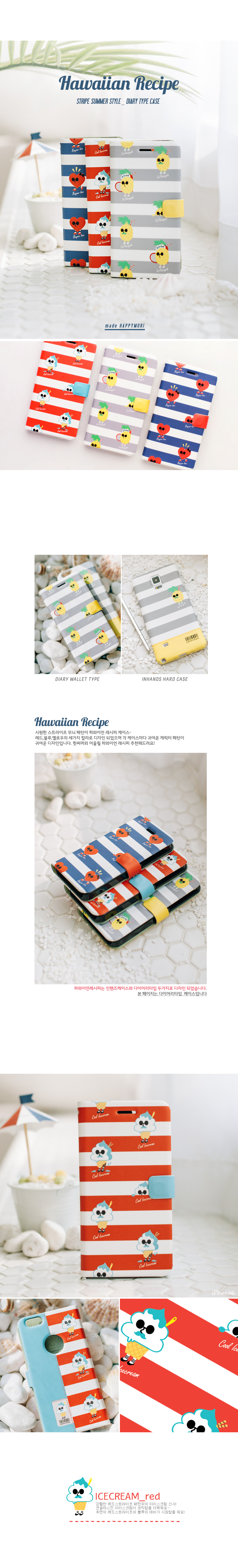 [HAPPYMORI] Flip Cover Case _ Hawaiian Recipe(iPhone4_4s,iPhone5_5s,iPhone6_6s)